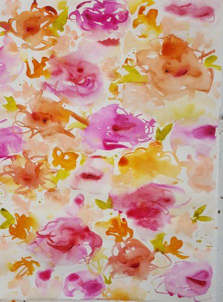 Floral- ink 55x75cm